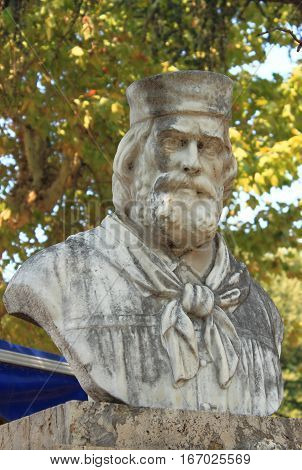 Memorial statue of Giuseppe Garibaldi in Rome, Italy