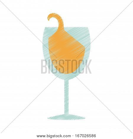 drawing glass cup champagne drink celebration vector illustration eps 10