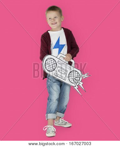 Portrait of a Little Blond Caucasian Boy with a Radio Isolated