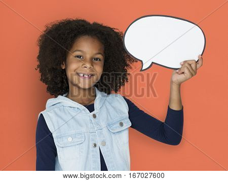 African Descent Holding Paper Speech Bubble Icon