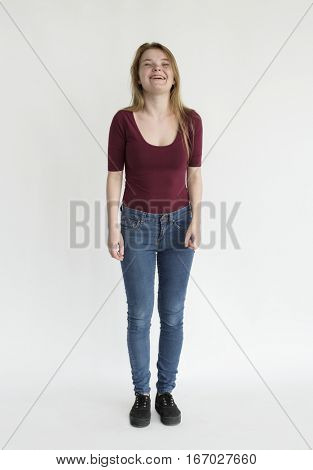 Young lady Full Body Smiling Studio Shoot