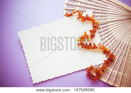 photo with white postcard amond retro amber beads fans etc