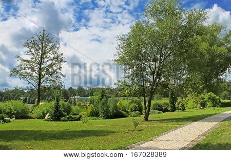 Nice view of park in Feofaniya, near Kyiv, Ukraine