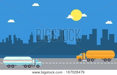 Illustration of road tanker landscape collection stock