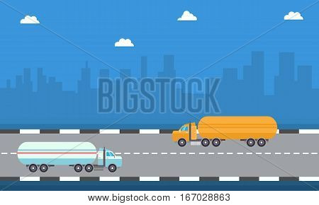 Vector art of road tanker illustration collection stock