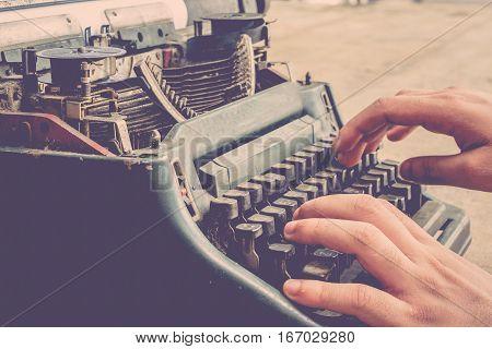 Typewriter And Human Hand
