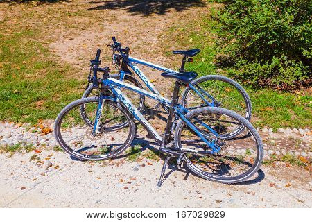 MILAN ITALY - September 07 2016:Police bicycle are parked near the park in Milan