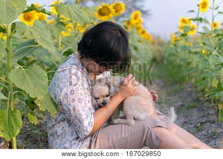 Asia Women Hugging Dog Travel At Sunflower Meadow