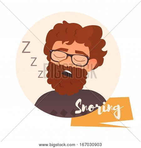 Snoring man. Vector illustration. Cartoon character. Vector art on a white background.