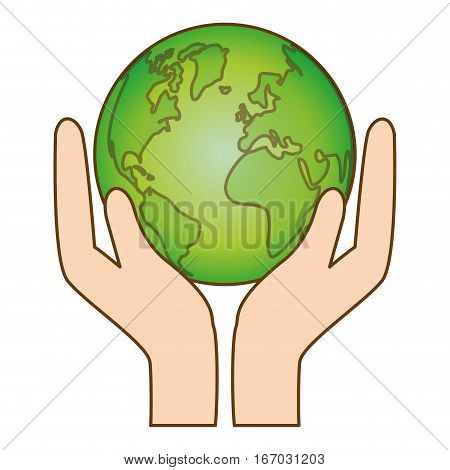 hands holding planet earth eco friendly related icons image vector illustration design