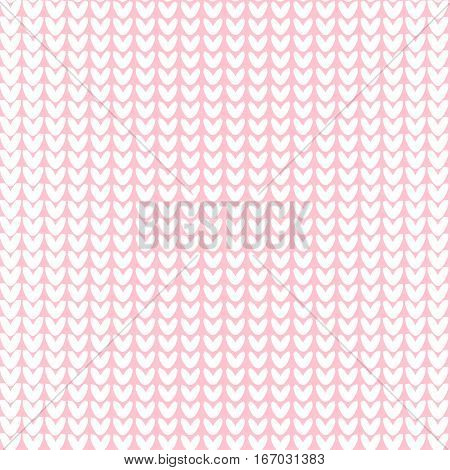 Seamless knitted background. Vector illustration. Knitted realistic baby boy seamless pattern of white color. Reverse side.