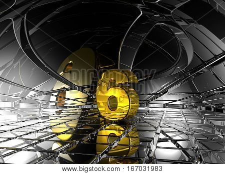 number six in abstract futuristic space - 3d rendering