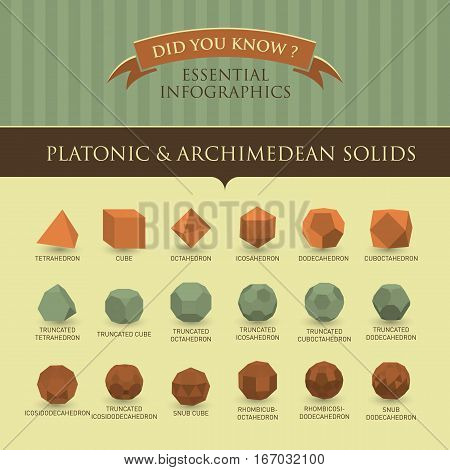 Vector Infographic - Platonic & Archimedian Solids