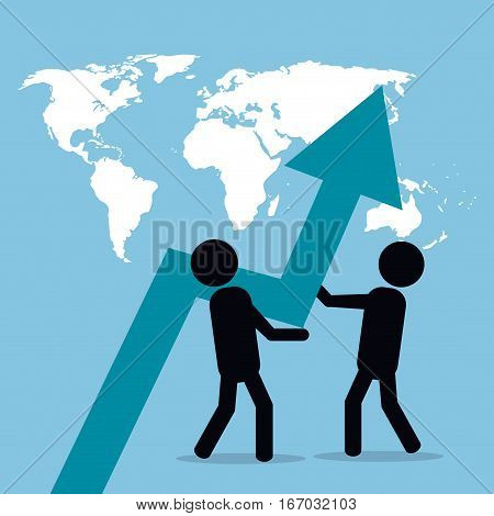 men business pushing arrow growth globe vector illustration eps 10