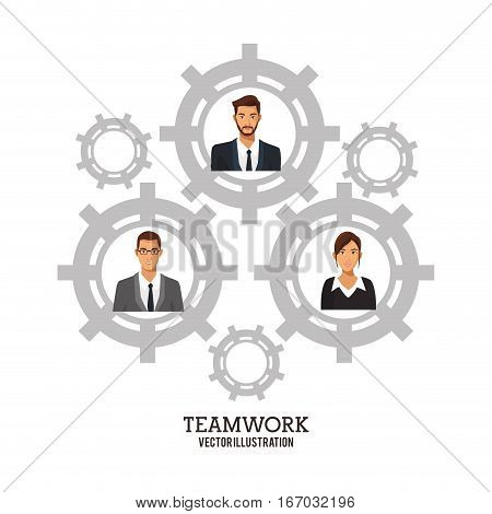 people business teamwork gears collaboration poster vector illustration eps 10