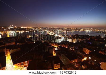 View over Golden Horn in Istanbul on night