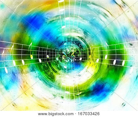 music notes in space with stars. abstract color background. Music concept
