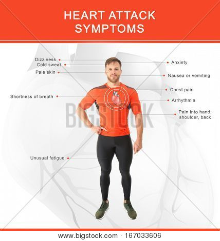 Health care concept. List of HEART ATTACK SYMPTOMS and sportive man on light background