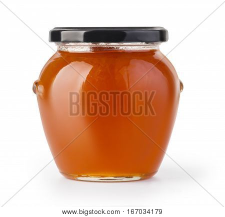 Apricot jam glass jar isolated on white background with clipping path