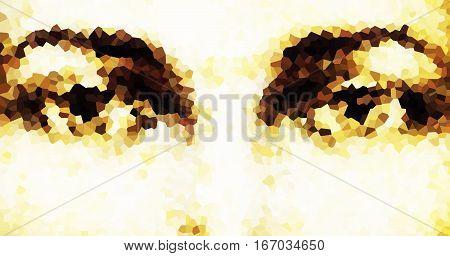 harmonic peaceful spiritual eyes, graphic collage on white background. mosaic effect