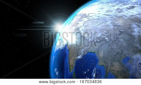 Earth globe from space with sun and clouds close up showing India, 3d illustration