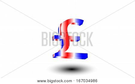 Colorful pound symbol with shadow on a white isolated background. Finance and bussiness concept. Flag of Great Britain