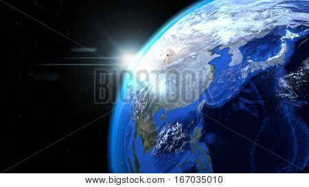 Earth globe from space with sun and clouds close up showing Asia, 3d illustration