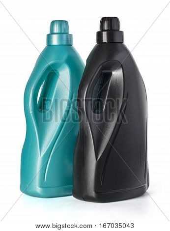 Plastic bottle for liquid laundry detergent liquid softener cleaning agent bleach or fabric softener isolated on white with clipping path