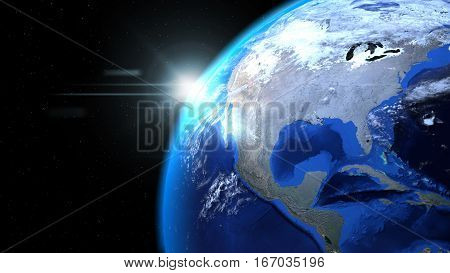 Earth globe from space with sun and clouds close up showing North America, 3d illustration
