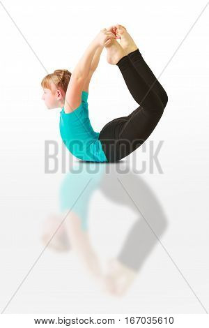 Beautiful Woman Doing Yoguna White Background