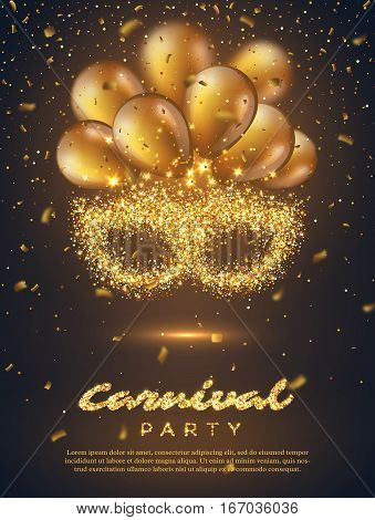 Carnival party poster. Mardi Gras mask from gold glitter with blur effect balloons and confetti. Venetian carnival mask. Vector illustration.