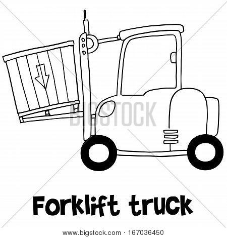 Illustration of forklift truck transportation collection stock