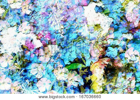 Abstract colorful watercollor design with flower and spots. Crackle effect
