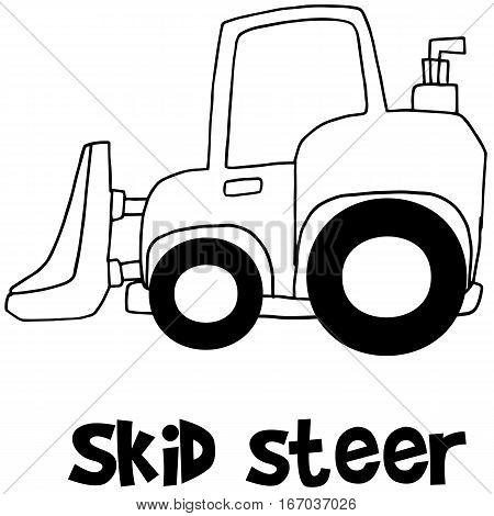 Hand draw of skid steer vector art illustration