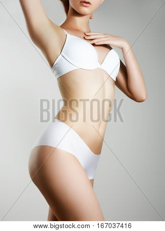 Beautiful Slim Woman's Body. Perfect Slim Toned Young Body
