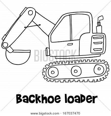 Backhoe loader with hand draw vector art
