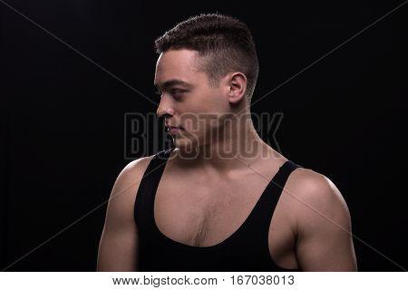 Young Man Looking Sideways, Face Head Portrait, Looking Sideways