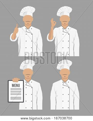 Chef cook. Icons of various gestures in chef's uniform. Vector illustration.