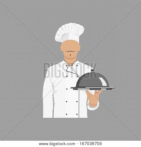 Chef cook with dish in hand. Vector illustration.