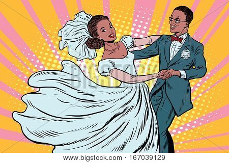 Wedding dance bride and groom. Pop art retro vector illustration. Loving couple man and woman. African American people