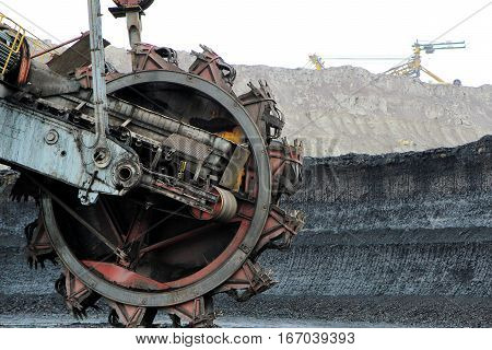 huge excavator mining machine in brown coal mine
