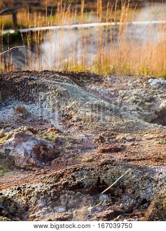 Steam rises from the ground at sulphur flats in Hawaii.