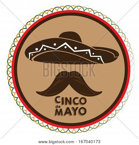 Isolated tag with a silhoette of a mexican hat and a mustache, Cinco de mayo vector illustration