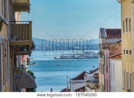 Lisboa Portugal. 15 January 2017. View of the Tejo River from Madragoa. Lisboa Portugal. photography by Ricardo Rocha.