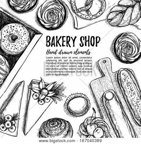 Hand Drawn Vector Illustration. Promotional Brochure With Pastries. Bakery Shop. Perfect For Restaur