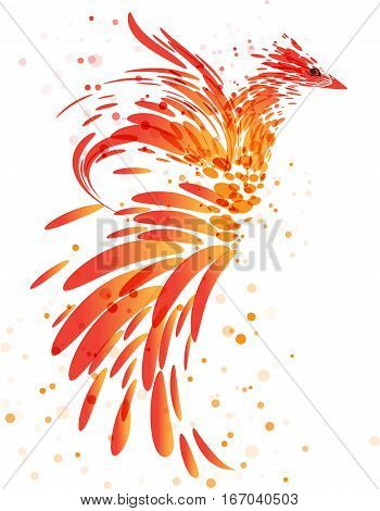 Fiery mythical bird on white background, flaming bird