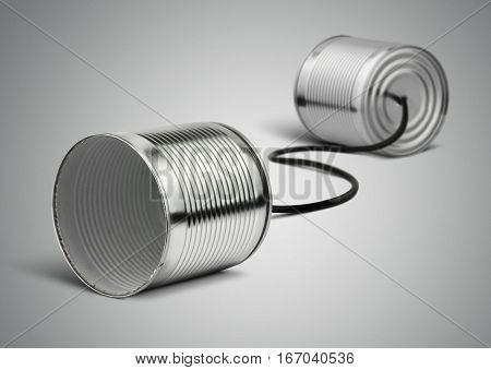 Tin can telephone with cord on grey telephony concept