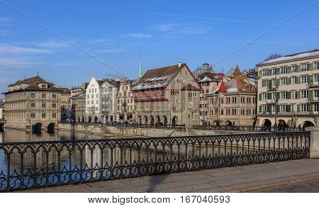 Zurich, Switzerland - 27 January, 2017: view from the Munsterbrucke bridge towards the Limmatquai quay. Zurich is the largest city in Switzerland and the capital of the Swiss canton of Zurich.