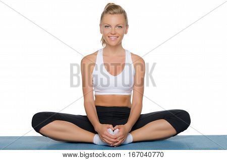beautiful woman doing yoga isolated on white