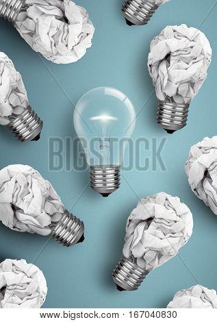 Creative idea concept , crumpled paper bulbs